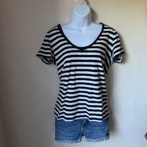 Black and White Striped V-Neck T-Shirt